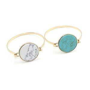 NWT Marble Stone Gold Bangle Bracelet